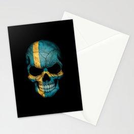 Dark Skull with Flag of Sweden Stationery Cards