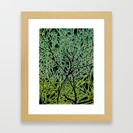 Tangled Tree Branches in Leaf and Lime Green Framed Art Print