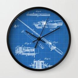 Fishing Rod Patent - Fishing Art - Blueprint Wall Clock