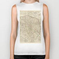 paris map Biker Tanks featuring PARIS by Le petit Archiviste