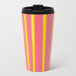 Pink and Yellow Stripes Travel Mug