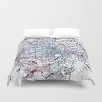 minneapolis Duvet Covers featuring Minneapolis map by MapMapMaps.Watercolors
