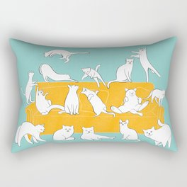 Cute Cats on Yellow Couch | Blue Rectangular Pillow