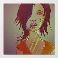 smoking Canvas Prints featuring Smoking by IOSQ