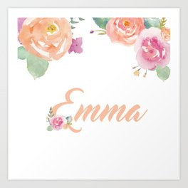 Emma Watercolour Name Art Print