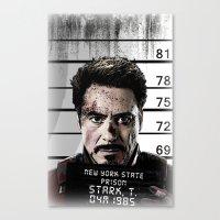tony stark Canvas Prints featuring Tony Stark jailed by MkY111