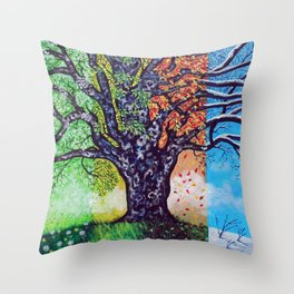'A Tree For All Season' Throw Pillow