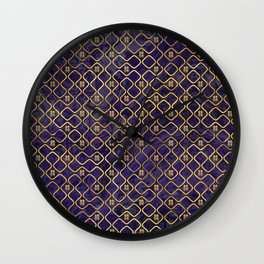 Gold Chinese Double Happiness Symbol pattern on amethyst Wall Clock