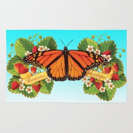 Monarch Butterfly with Strawberries on Aqua Rug
