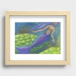 The Mermaid and The Turtles Recessed Framed Print