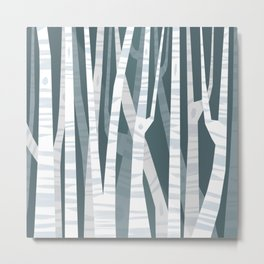 Blue Birches Metal Print
