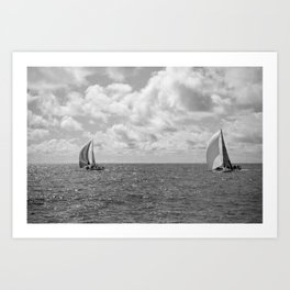 Black and White Sail Boats Art Print