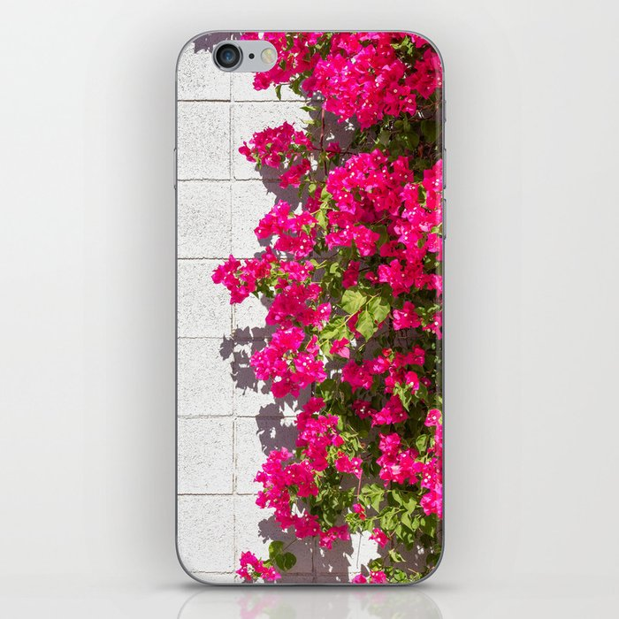 Bougainvilleas and White Brick Wall in Palm Springs, California iPhone Skin