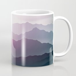 dark blue mountain landscape with fog and a sunrise and sunset Coffee Mug