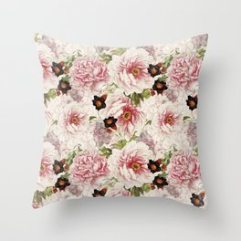 Small Vintage Peony and Ipomea Pattern - Smelling Dreams Throw Pillow