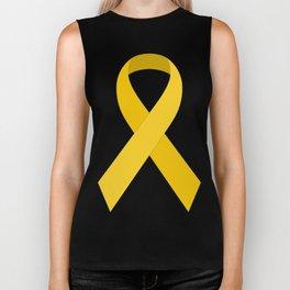 Yellow Awareness Support Ribbon Biker Tank