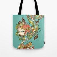 geisha Tote Bags featuring Geisha by Huebucket