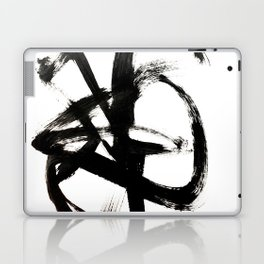 Brushstroke 4 - a simple black and white ink design Laptop & iPad Skin
