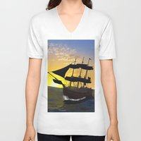 pirate ship V-neck T-shirts featuring Pirate ship  by nicky2342