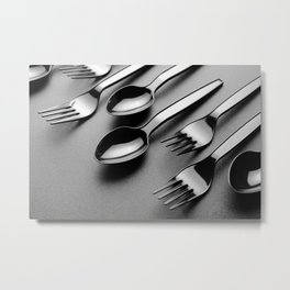 Spoon-fork on black Metal Print
