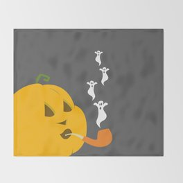 Halloween Smoking Jack o Lantern Throw Blanket