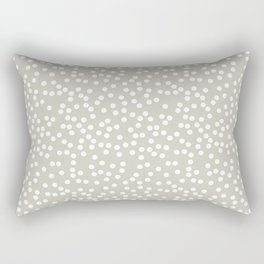 Beige and White Polka Dot Pattern Rectangular Pillow