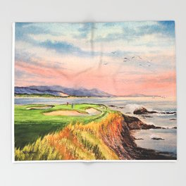 Pebble Beach Golf Course Hole 7 Throw Blanket