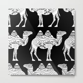 pattern with camel silhouette Metal Print