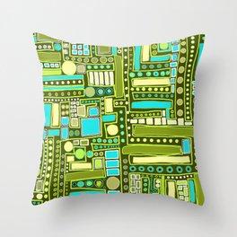 Mid-Century Modern Maze ~ Aqua & Forest Throw Pillow