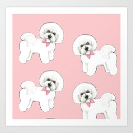 Bichon Frise pink bows christmas holiday themed pattern print pet friendly dog breed gifts Art Print