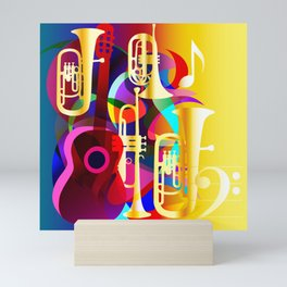Colorful music instruments with guitar, trumpet, musical notes, bass clef and abstract decor Mini Art Print