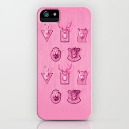 Hunting Series - Different Pink Animal Head Pattern iPhone Case