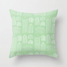 Birdcages (Green) Throw Pillow