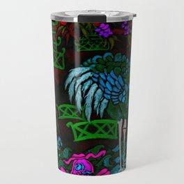 Asian Bamboo Garden in Black Velvet Watercolor Travel Mug