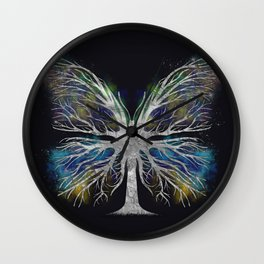 Butterfly Tree - Silver Color Mist Wall Clock