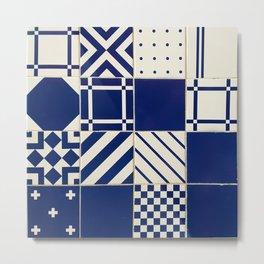 Tiles Old Porcelain Pattern Metal Print
