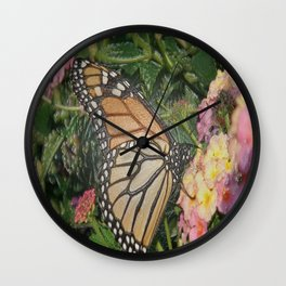 Monarch Butterfly Abstract Wall Clock