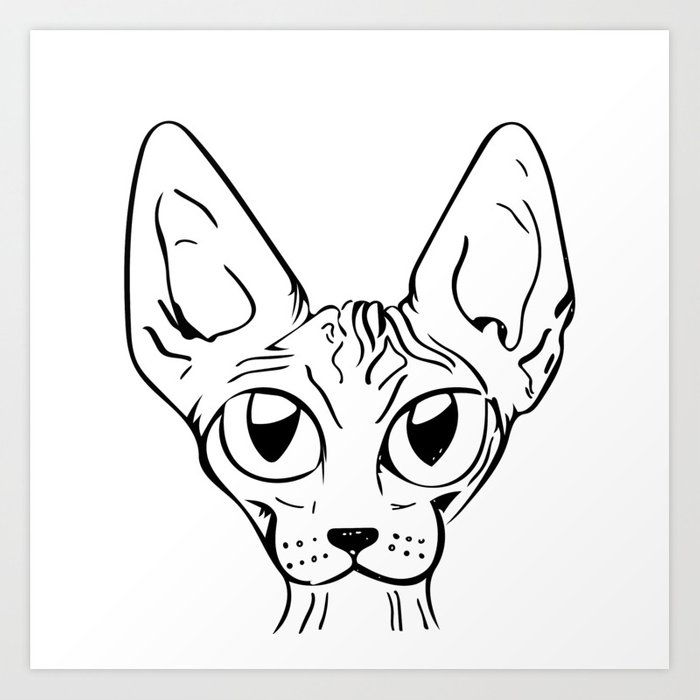Sphynx Cat Cartoon Sphynx Cat Drawing Sphynx Illustration Black And White Ink Art Print By Ananovakovic Society6