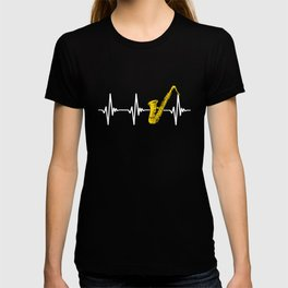 Saxophone Saxophonist Heartbeat Marching Band Gift T-shirt