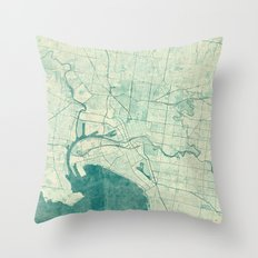 Melbourne Map Blue Vintage Throw Pillow