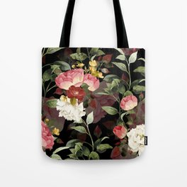 Floral Flower Pattern Watercolor White Pink Flowers Black Background Tote Bag