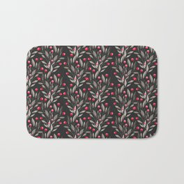 Modern pink red gray watercolor leaves berries pattern Bath Mat