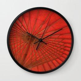 Big Asia Umbrella Red Colors Wall Clock
