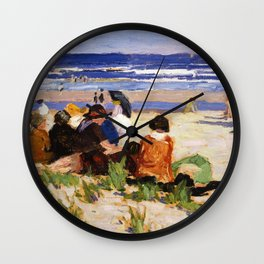 Edward Henry Potthast - On The Beach, Ogunquit, Maine Wall Clock