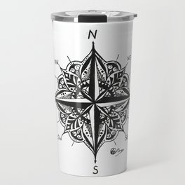 """Mandala Compass Rose"" Hand-Drawn by Dark Mountain Arts Travel Mug"