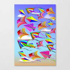 Kites Rainbow Colors in the Wind Canvas Print