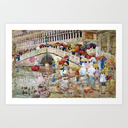 Maurice Brazil Prendergast - Umbrellas In The Rain - Digital Remastered Edition Art Print