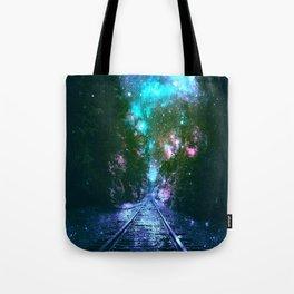 train tracks Next Stop Anywhere bright Tote Bag