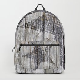 Grunge Star on old weathered grey wood Backpack