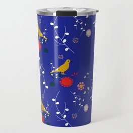 Bird and blossom electric blue Travel Mug